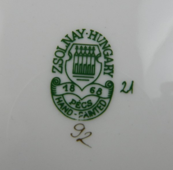 4 talerzyki deserowe Zsolnay Węgry mark