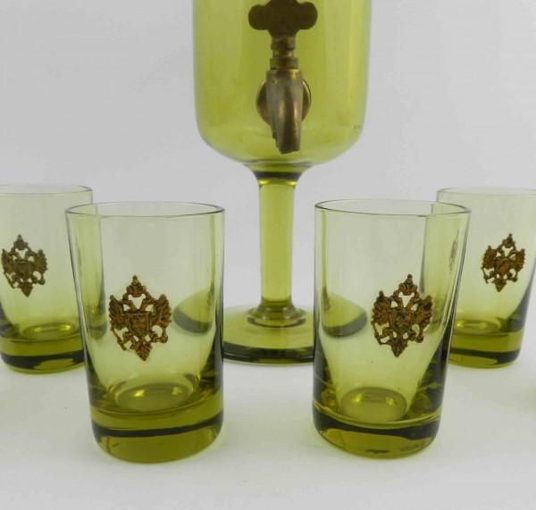 Serwis szklany z mosiężną aplikacją kieliszki